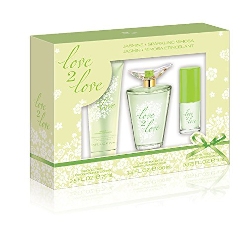 Love2Love Green Gift Set (3.4 Ounce Eau De Toilette Plus 2.5 Ounce Body Lotion Plus 0.375 Ounce Mini Eau De Toilette)