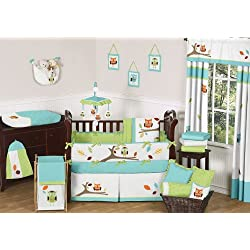 Sweet Jojo Designs Turquoise and Lime Hooty Owl Unisex Baby Boy or Girl Bedding 9 pc Crib Set
