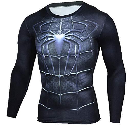 Slim Dri-fit Black Spider Mens Compression Workouts Shirt XL ()