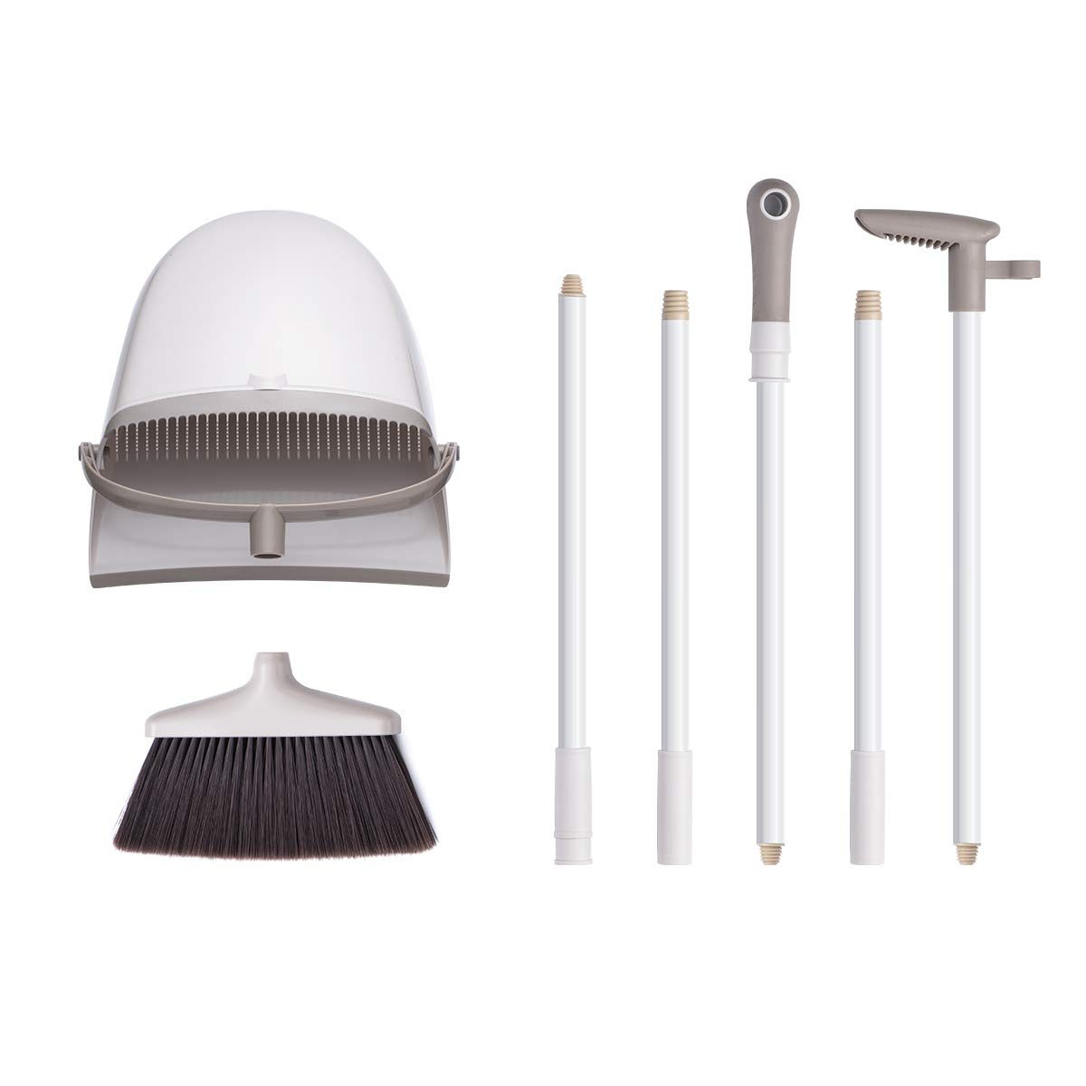 Broom and Dustpan Set, CQT Dust Pan and Broom with Long Handle for Home Kitchen Industry Lobby Floor Sweeping Upright Stand Up Dustpan Cleans Broom Combo by CQT (Image #7)