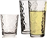 Circleware Huge 16-Piece Set Highball Tumbler Drinking Glasses and Whiskey Cups, Home & Kitchen Party Glassware for Water, Beer, Ice Tea Juice, Bar Beverages, 8-15.7 oz & 8-12.5 oz, Circles 16pc