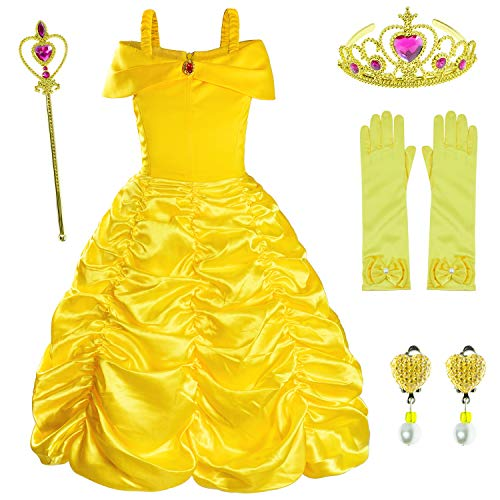 Princess Costume for Girls Birthday Party Fancy Dress Up with Accessories(Crown+Wand+Earrings+Gloves) 2-10 Years