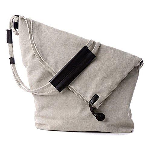 Ecokaki(TM) Retro Canvas Shoulder Bag Large Capacity Casual Handbag Crossbody Hobo Style Tote Travel Bag, Beige by Ecokaki
