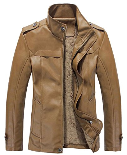 today Zipper Motorcycle Khaki Men's Warm Faux Winter Leather Jacket UK qTrqF