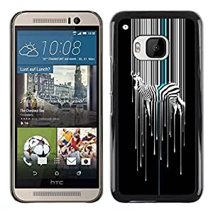 Exotic-Star ( Art Minimalist White Black Stripes ) Fundas Cover Cubre Hard Case Cover para HTC One M9