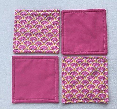 Pink Lemon Fabric Coasters, Set of Four (4)