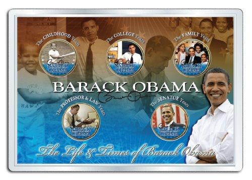 - BARACK OBAMA *Life & Times* 24K Gold Plated Statehood Hawaii Quarter 5-Coin Set