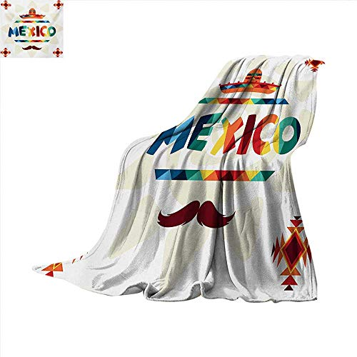 Mexican Super Soft Lightweight Blanket Mexico Traditional Aztec Motifs and Sombrero Straw Hat and Moustache Graphic Print Oversized Travel Throw Cover Blanket 70 x 60 inch Multicolor