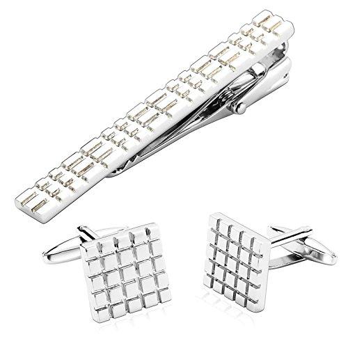 Aooaz 3Pcs Stainless Steel Cufflinks And Tie clips set Thin Slim Skinny Mens Silver Box Geometry Tie Pins 1.5X1.5CM Dad Unique Jewelry Box Fancy Elegant