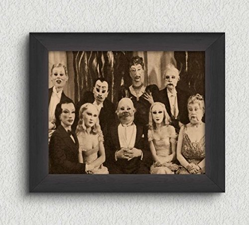 Group Costumes For 8 People (Creepy Group Photo Vintage Art Print - 8x10 Wall Art - Halloween Decor)