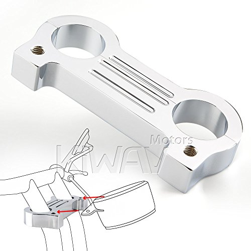 Gauge Handlebar Mount - KiWAV billet aluminum chrome gauge mount adapter for Harley FXD XL T-bar 1-1/4