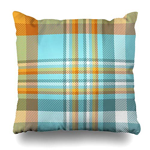 Ahawoso Throw Pillow Cover Digital Blue British Madras Plaid Pattern Orange Teal Green Check Checker English Flannel Design Home Decor Pillow Case Square Size 20 x 20 Inches Zippered Pillowcase - Jenny Golf Socks