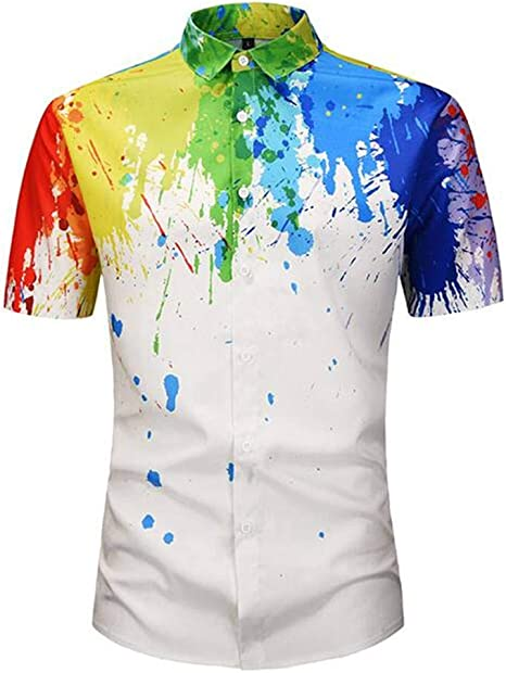 Camisa de los hombres de moda Camisa de impresión de patrón de salpicaduras de color 3D Verano manga corta 18-24 años Poliéster/Mezcla de fibra química: Amazon.es: Amazon.es