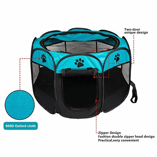 MiLuck Pet Portable Foldable Playpen, Exercise 8-Panel Kennel Mesh Shade Cover Indoor/outdoor Tent Fence For Dogs Cats (S, Blue)