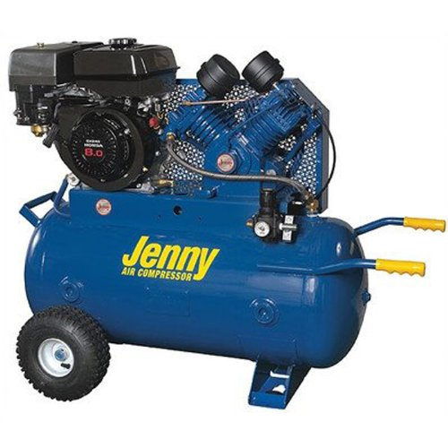 Jenny J11hga 30P Single Stage Service Vehicle Wheeled Portable Gasoline Engine Air Compressor With J Pump  30 Gallon Tank  11 Hp