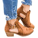 Booties For Women Suede Leather Low Heel Buckle Boots Round Toe Cut Out Western Shoes