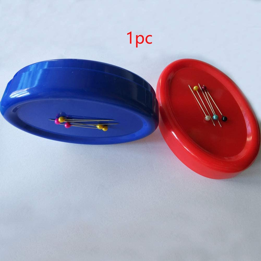 Oval Red//Blue Magnetic Pin Holder Sewing Needle Storage Box for Hand Sewing DIY Handmade Magnetic Sewing Pin Cushion