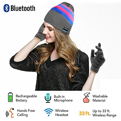 Security Bluetooth Beanie Hat + Touchscreen Gloves, Knitted Music Hat Built-in Stereo Speakers Winter Women and Man Hat for Outdoor Sports, Skiing,Running, Skating, Walking, Gifts (Grey)