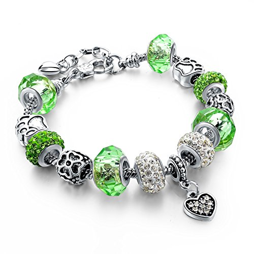 Long Way Silver Plated Snake Chain Glass Crystal Beads Heart Charm Bracelet for Women (Green) ()