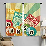 PriceTextile Vintage Drapes for Living Room Bingo Game with Ball and Cards Pop Art Stylized Lottery Hobby Celebration Theme Window Curtain Fabric 72'' W x 45'' L Multicolor