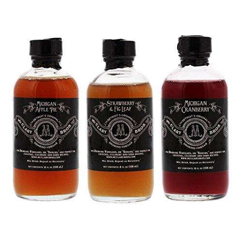 McClary Bros- 3 Bottle Drinking Vinegar Sampler: One 4oz bottle of Michigan Apple Pie, One 4oz bottle of Strawberry Fig Leaf and One 4oz bottle of Michigan Cranberry