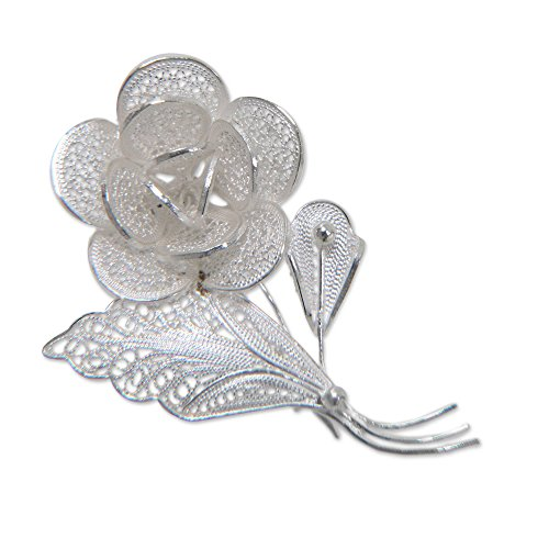 "NOVICA .925 Sterling Silver Floral Brooch Pin, 1.1"", Sweetheart Rose"