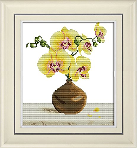 Cross Pattern Yellow (Full Range of Embroidery Starter Kits Stamped Cross Stitch Kits Beginners for DIY Embroidery with 40 Pattern Designs - Yellow Phalaenopsis)