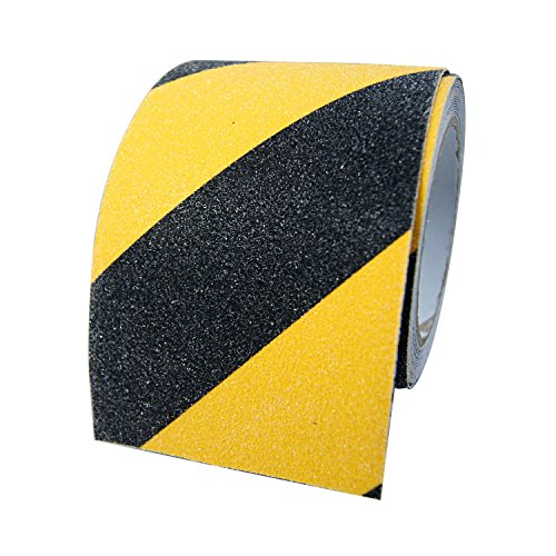 Self Adhesive Safety Tape - Soqool Outdoor Anti Slip Tape Non Skid Tape Self Adhesive Abrasive Tape - 4 Inch Wide by 15 Feet Long, Non Slip Safty Tape for Improving Grip and Preventing Risk of Slippage, Black&Yellow