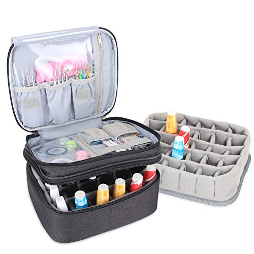 (Luxja Nail Polish Carrying Case - Holds 30 Bottles (15ml - 0.5 fl.oz), Double-layer Organizer for Nail Polish and Manicure Set, Black)