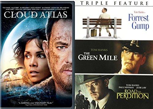 Tom Hanks Collection Green Mile / Road to Perdition / Forrest Gump & Cloud Atlas DVD Set 4 Film Favorites Bundle (4 Film Favorites Stephen King)