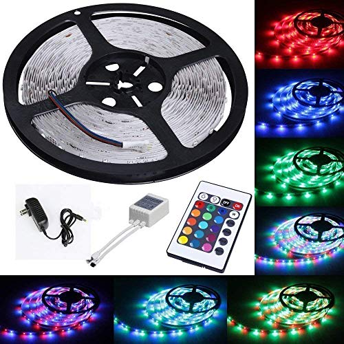 Tasodin Water-resistace IP65 5M/16.4 Ft SMD 3528 300leds Multicolor Changing Kit LED Cuttable Light Strips with Flexible Strip Light+24Keys IR Remote Control+Power Supply ()