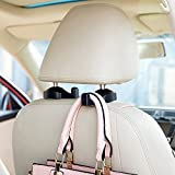 Car Seat Front Back Headrest Hooks - Universal Car Storage Headrest Hanger Holder Hook For HandBag/Purse/Cloth/Grocery and More - Heavy Duty Purse Hooks - Best Car Accessories,4 Pack,Black,AK-064