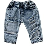 FriBabyfat Toddler Newborn Baby Boys Girls Causal Elastic Waist Destroyed Ripped Jeans Pants (6-12 Months, A)