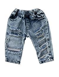 FriBabyfat Toddler Newborn Baby Boys Girls Causal Elastic Waist Destroyed Ripped Jeans Pants