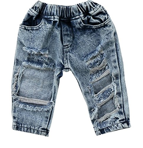 FriBabyfat Toddler Newborn Baby Boys Girls Causal Elastic Waist Destroyed Ripped Jeans Pants (12-18 Months, ()