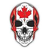 """Skull Flag Canada Car Bumper Sticker Decal 4"""" x 5"""""""