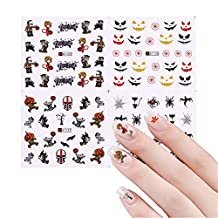 NICOLE DOARY 12 Sheets Halloween Water Decal Spider Skull Pumpkin Pattern Manicure Nail Art Transfer Stickers(A1117-A1128)