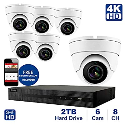 4K 8 CH NVR with Home Security System with 5MP IP Poe Dome 6pcs White Security Dome Camera?Plug and Play,Remote Home Monitoring System,2TB Storage (8 Channel System, 6pcs White Dome Cameras)