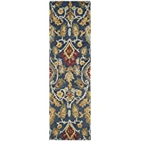 Safavieh Blossom Collection BLM402A Handmade Navy and Multi Premium Wool Runner (23 x 10)