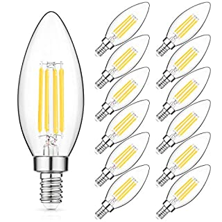 E12 Candelabra Bulb 40W Equivalent, 5000K Daylight White Filament LED Chandelier Light Bulbs, 4W B11 Clear Candle Light Bulb with Decorative Candelabra Base, Non-dimmable, Pack of 12