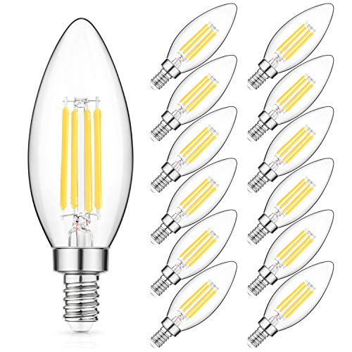 E12 LED Candelabra Bulb 40W Equivalent, Daylight White Chandelier LED Filament Light Bulbs 470lm, Decorative B11 Clear Glass Candle Lighting, Non-dimmable, Pack of 12 ()