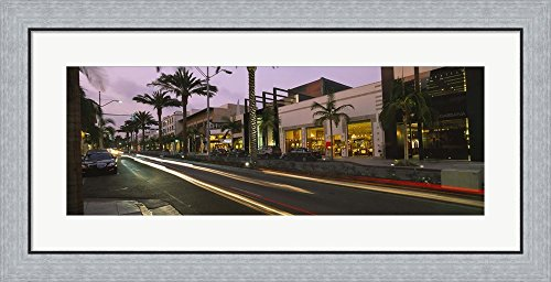 Stores on the roadside, Rodeo Drive, Beverly Hills, California, USA by Panoramic Images Framed Art Print Wall Picture, Flat Silver Frame, 35 x 17 - On Stores Beverly Drive