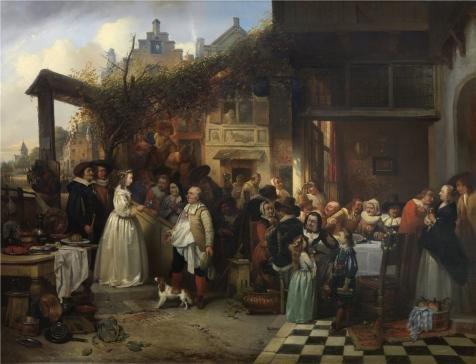 ポリエステルキャンバス、模造品アートDecorativePrintsのキャンバスの油絵` Henri Leys–Wedding in Flanders in the 17世紀、19世紀`、20x 26インチ/ 51x 66cmはBest地下室の装飾用、ホームギャラリーアートとギフトの商品画像