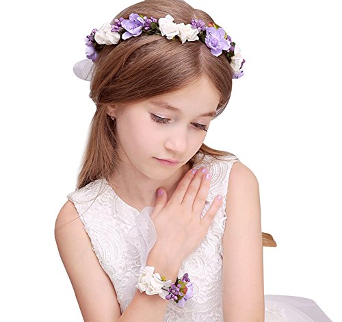 KSDN Wedding Flower Girls Headpiece Halo Garland Hair Wreath With Wrist Band Lilac