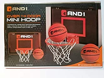 AND1 Mini Basketball Set Over The Door Hoop With 4 Ball Black by AND1