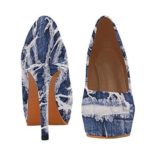InterestPrint flower jeans Womens Sexy High Heels Pump Shoes Jeans y3rpL4
