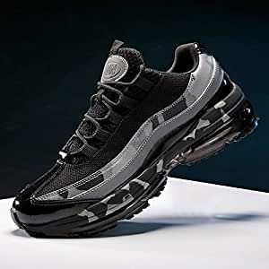 Men's Air Cushion Running Shoes Casual Athletic Sneakers Youth Big Boys Lightweight Trail Workout Sport Tennis Shoes Plus Size(Black & Grey,Size 9.5 / 265mm)