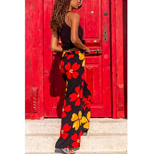 Pervobs Women Summer Casual Boho Floral Printing High Waist Wide Leg Pants Holiday Daily Loose Super Comfy Trouser(L, Black) by Pervobs Women Pants (Image #2)
