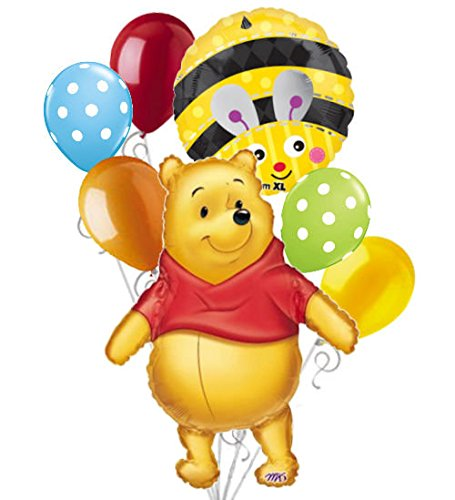 7 pc Winnie the Pooh Big as Life Balloon Bouquet Party Decoration Disney Baby]()