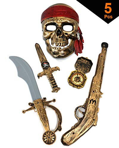 Halloween Costumes Skeleton Pirate (GIFTEXPRESS 5-Piece Halloween Pirate Costume Accessories for Kids, Pirate Role Play Set /Halloween Costumes for Boys/Pirate Paraphernalia (Pirate Sword, Compass, Dagger, Mask,)